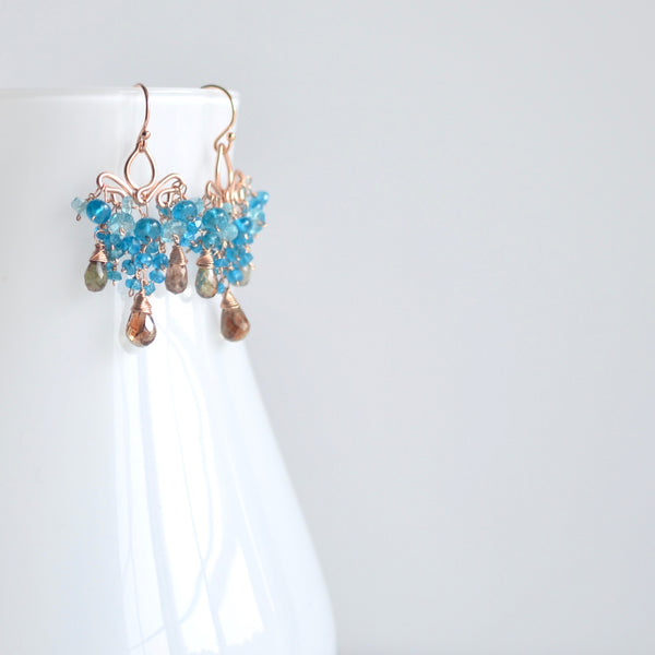 Dolores - Andalusite, Apatite, 14k Rose Gold Filled Earrings
