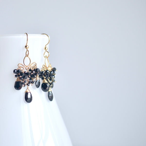 Dolores - Black Spinel Gold Filled Earrings