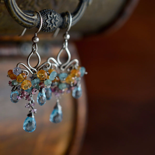 Dolores - Blue Topaz, Apatite, Spessartite and Rhodolite Garnet, Iolite, Sterling Silver Earrings