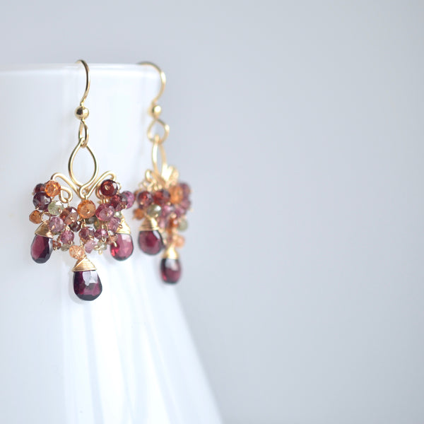 Dolores - Garnet and Multi Sapphire Gold Filled Earrings