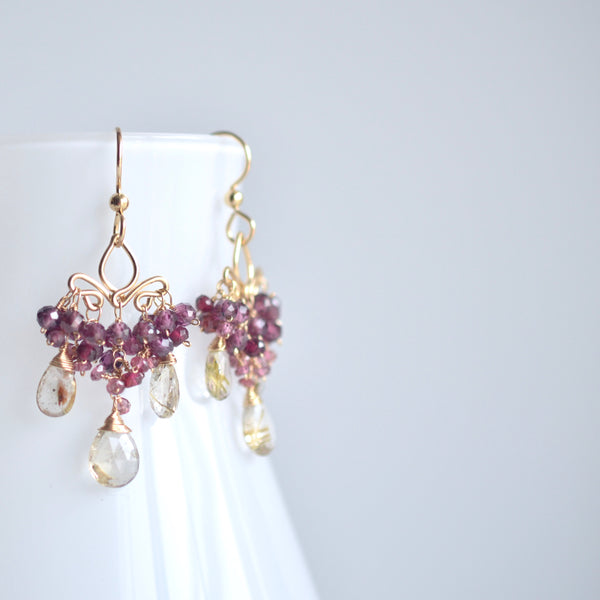Dolores - Rutilated Quartz and Garnets Gold Filled Earrings