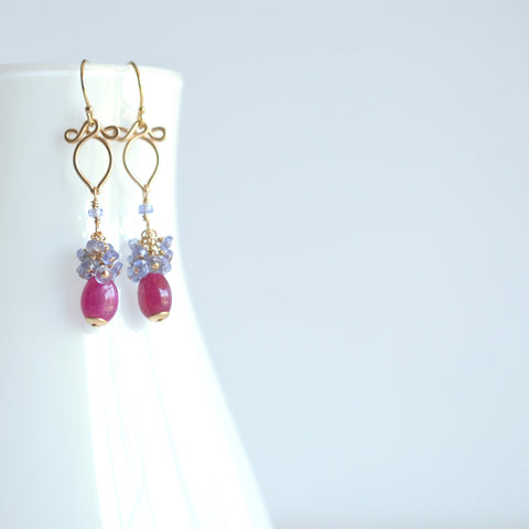 Eliza - Pink Sapphire, Tanzanite 14k Gold Filled Earrings