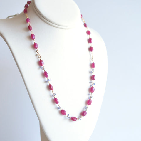 Eliza - Pink Sapphire, Tanzanite 14k Gold Filled Necklace