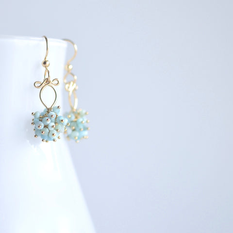 Elsa  - Larimar and 14k Gold Filled Earrings