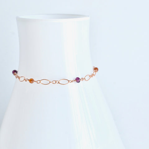 Fiona - Garnet, 14k Rose Gold Filled Bracelet