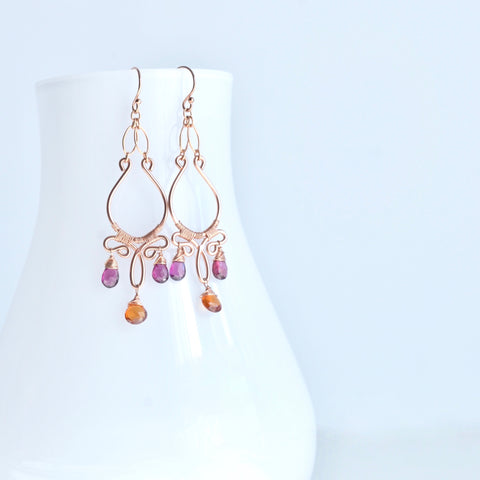 Fiona - Garnet, 14k Rose Gold Filled Earrings