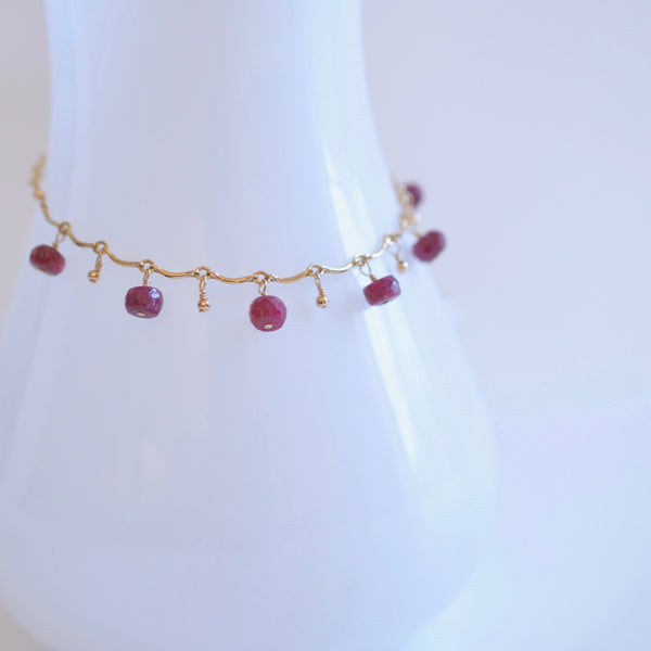 Gabriela - Ruby, 14k Gold Filled Bracelet