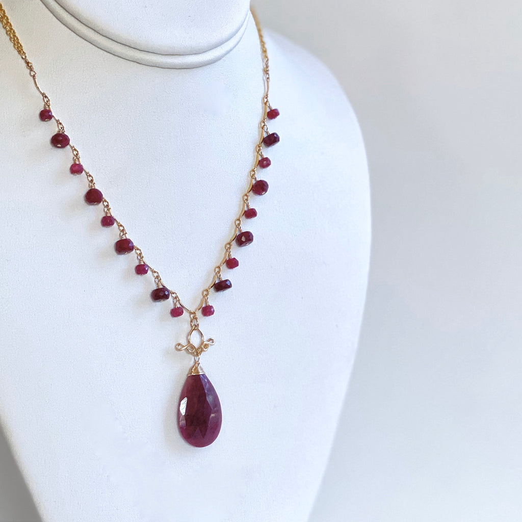 Gabriela - Ruby, 14k Gold Filled Necklace