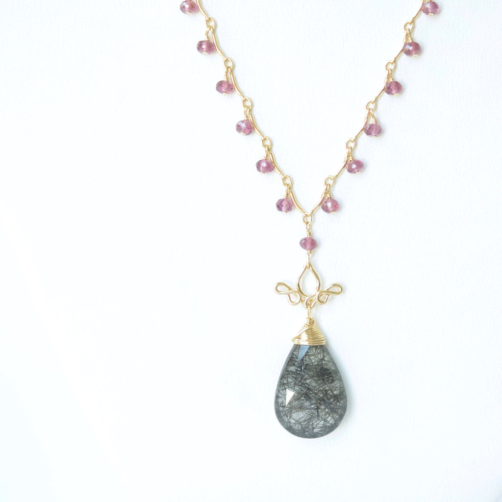 Gabriela - Tourmalinated Quartz, Garnet 14k Gold Filled Necklace
