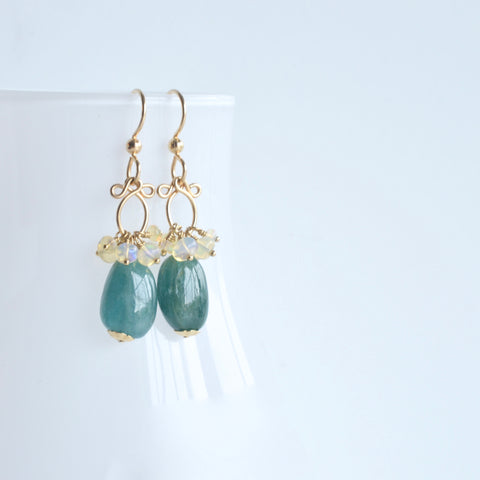Gisela - Grandidierite and Ethiopian Opal, 14k Gold Filled Earrings