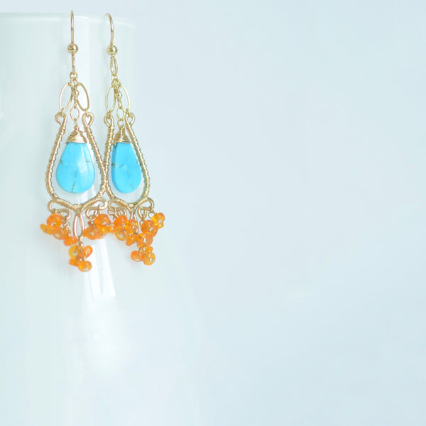 Graciela - Turquoise, Fire Opal, 14k Gold Filled Chandelier Earrings