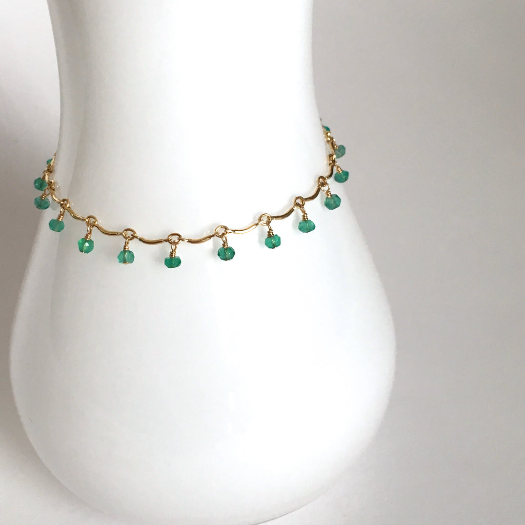 Leticia - Green Onyx, 14k Gold Filled Bracelet