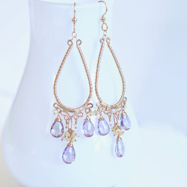 Greta - Amethyst, Ethiopian Opal, 14k Gold Filled Chandelier Earrings