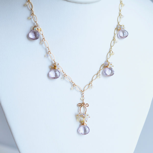 Greta - Amethyst, Ethiopian Opal, 14k Gold Filled Necklace