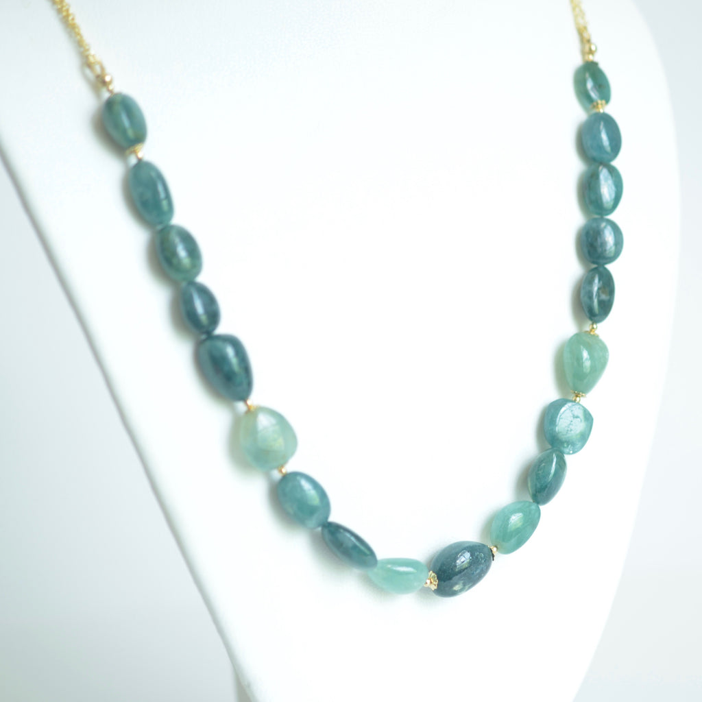 Graciela - Grandidierite and 14k Gold Filled Long Necklace