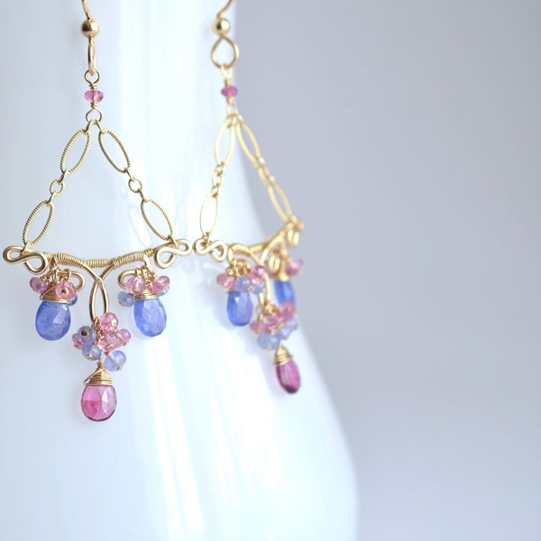 Kira - Tanzanites, Tourmalines, Sapphires 14k Gold Filled Earrings