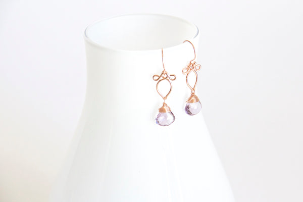 Arabella - Lavender Amethyst and Rose Gold Filled Dangly Earrings
