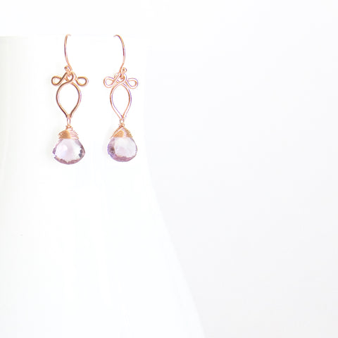 Arabella - Amethyst, 14k Rose Gold Filled Earrings
