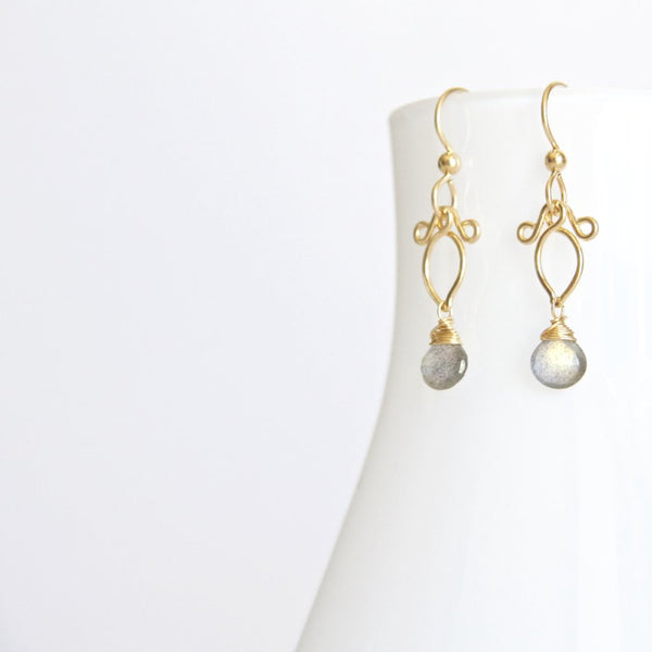 Arabella - Labradorite Gold Filled Petite Dangles