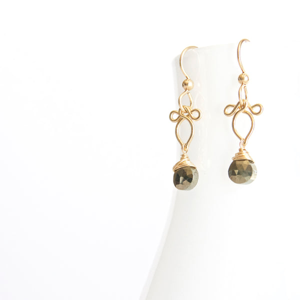 Arabella - Small Pyrite 14k Gold Filled Earrings