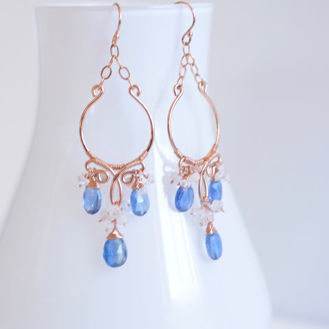 Jenila - Kyanite, Moonstones, 14k Rose Gold Filled Earrings