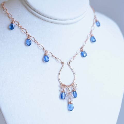 Jenila - Kyanite, Moonstones, 14k Rose Gold Filled Necklace