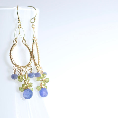 Joelle  - Tanzanites, Peridot, 14k Gold Filled Earrings