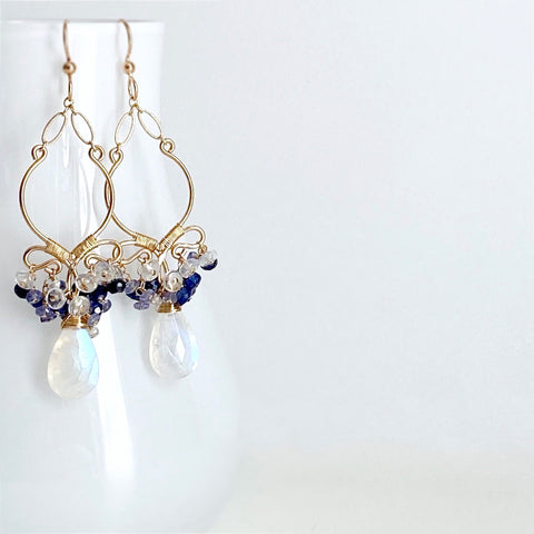 Jordana - Moonstone, Kyanite, Tanzanite 14k Gold Filled Earrings