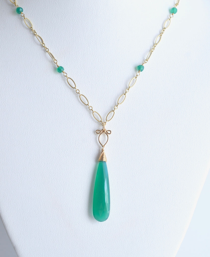 Judit - Green Onyx, 14k Gold Filled Necklace