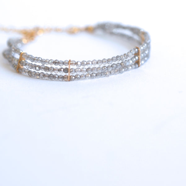 Lauren - Labradorite, 14k Gold Filled, Three Strand Bracelet
