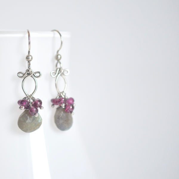 Lana - Labradorite, Garnet, Oxidized Silver Earrings