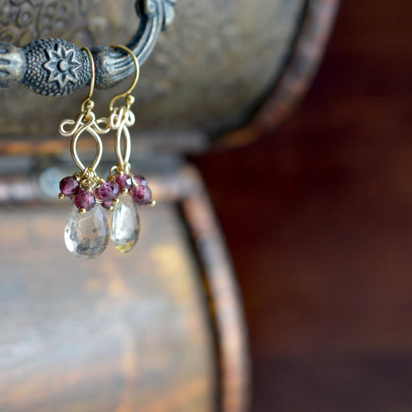 Lana - Rutilated Quartz and Garnets Gold Filled Earrings