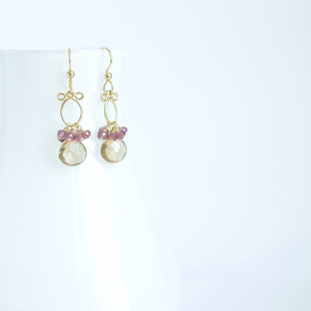 Lana Earrings - Smokey Quartz, Garnet 14k Gold Filled Earrings