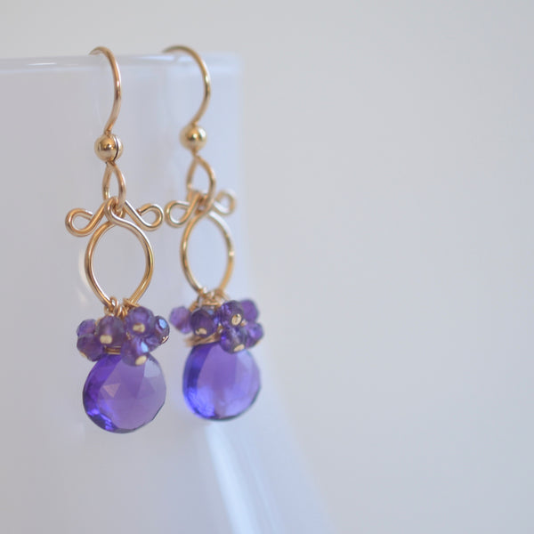 Lana Earrings - Amethyst, 14k Gold Filled Earrings