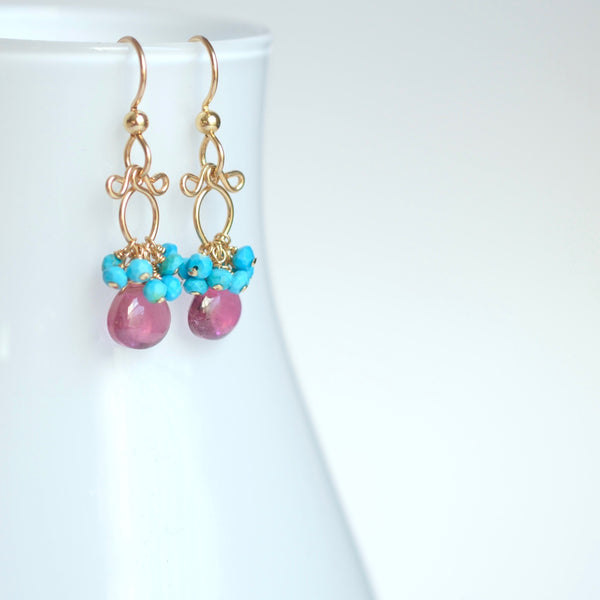 Lana - Pink Tourmaline, Turquoise 14k Gold Filled Earrings