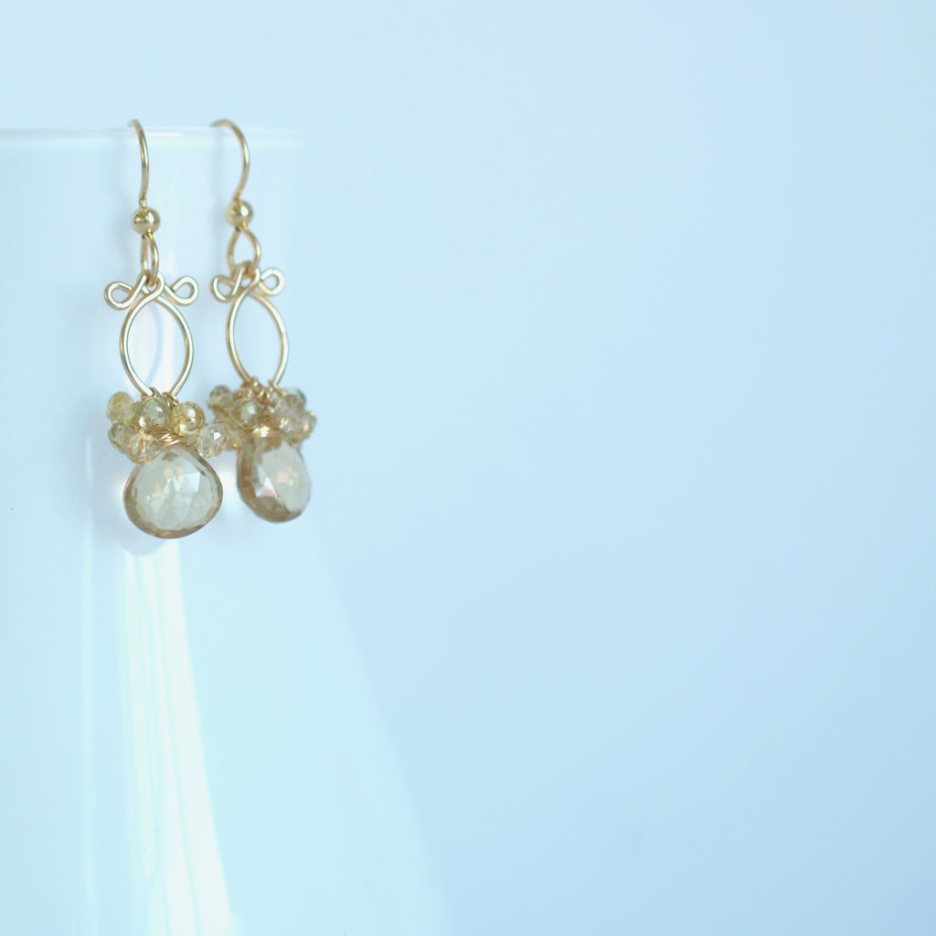 Lana Earrings - Smokey Quartz, Zircons 14k Gold Filled Earrings