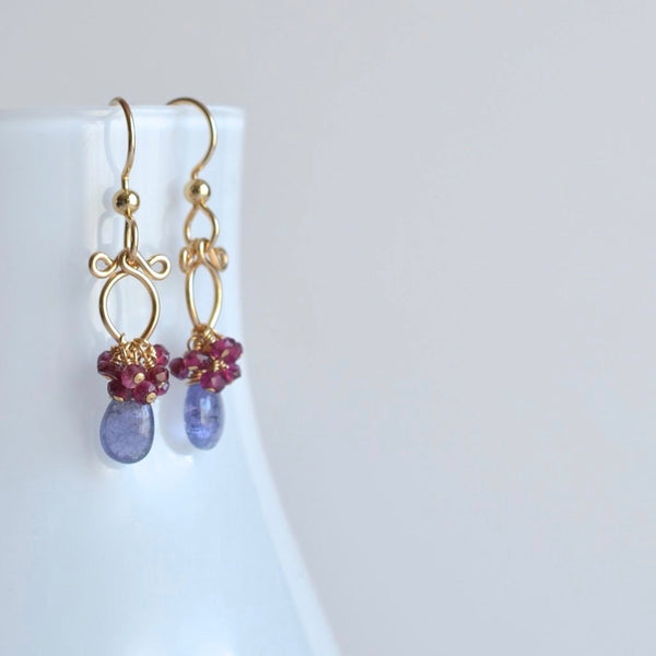 Lana - Tanzanite, Garnet 14k Gold Filled Earrings