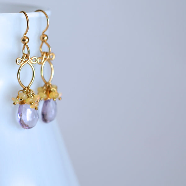 Lana Earrings - Amethyst, Ethiopian Opal 14k Gold Filled Earrings