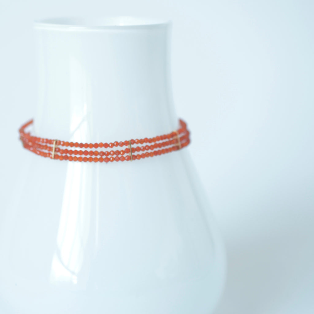 Lauren - Carnelian, 14k Gold Filled, Three Strand Bracelet