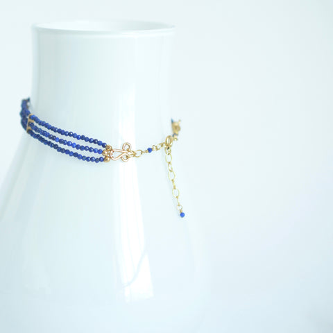 Lauren - Lapis Lazuli, 14k Gold Filled, Three Strand Bracelet