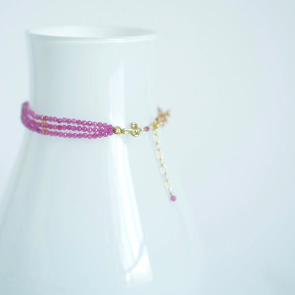 Lauren - Pink Agate, 14k Gold Filled, Three Strand Bracelet