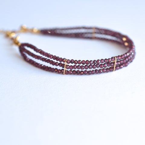 Lauren - Garnet, 14k Gold Filled, Three Strand Bracelet
