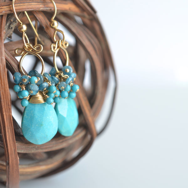 Layna - Turquoise, Apatite 14k Gold Filled Earrings