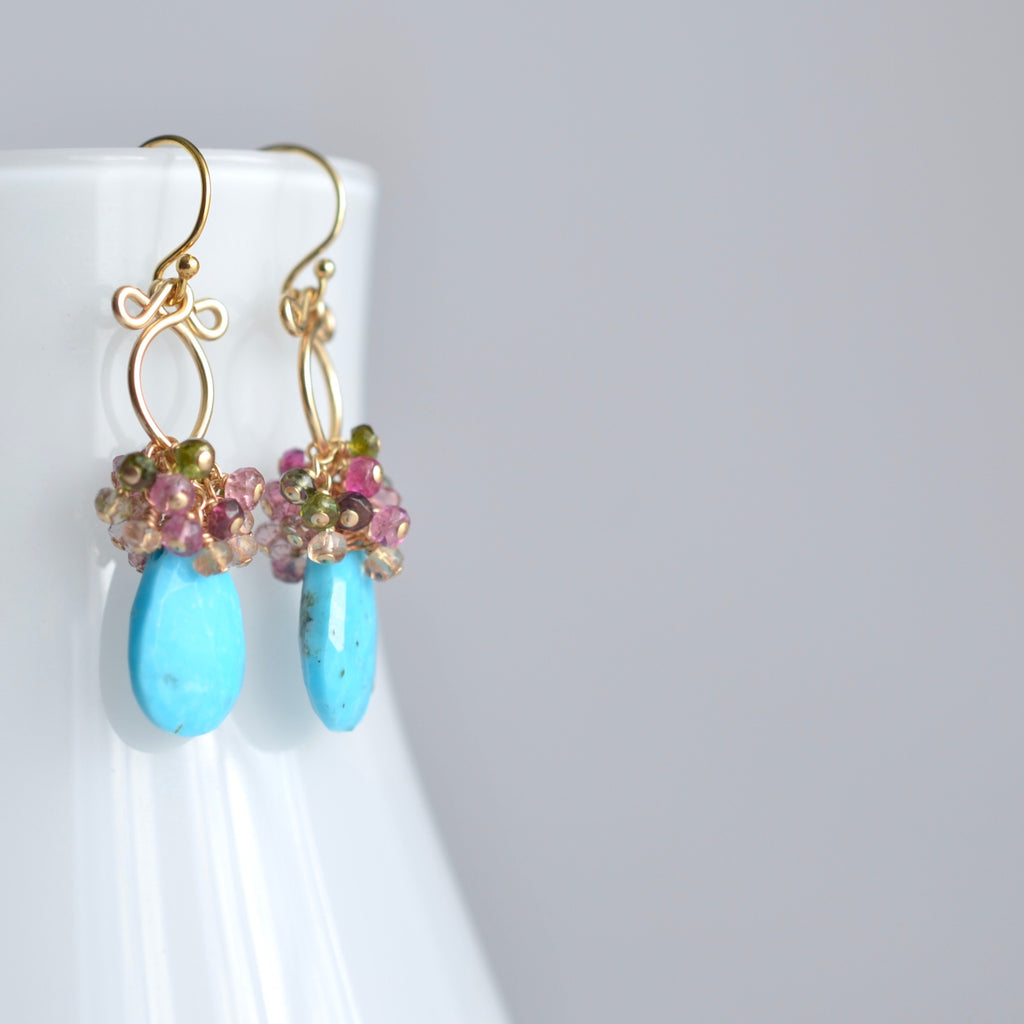 Layna - Turquoise, Tourmaline 14k Gold Filled Earrings