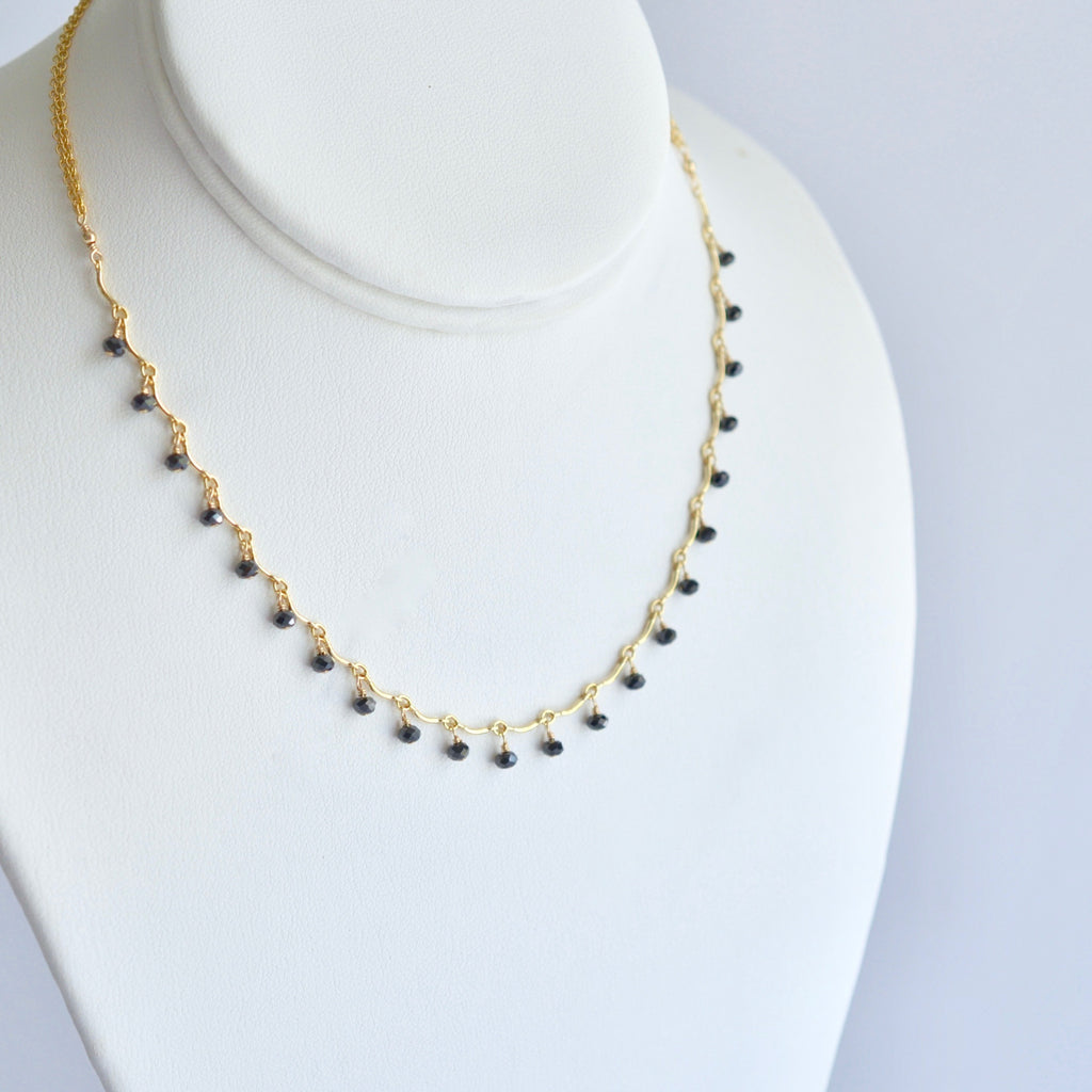 "Leticia - Black Spinel, 14k Gold Filled ""Choker"" Necklace"