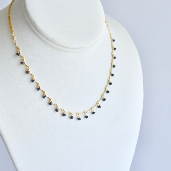 Leticia - Black Spinel, 14k Gold Filled Necklace