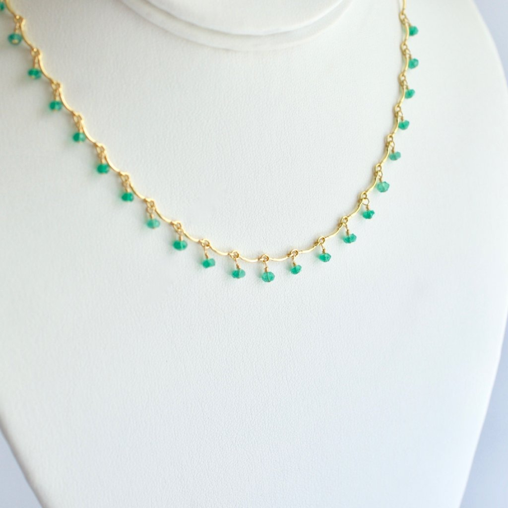 Leticia - Green Onyx, 14k Gold Filled Necklace
