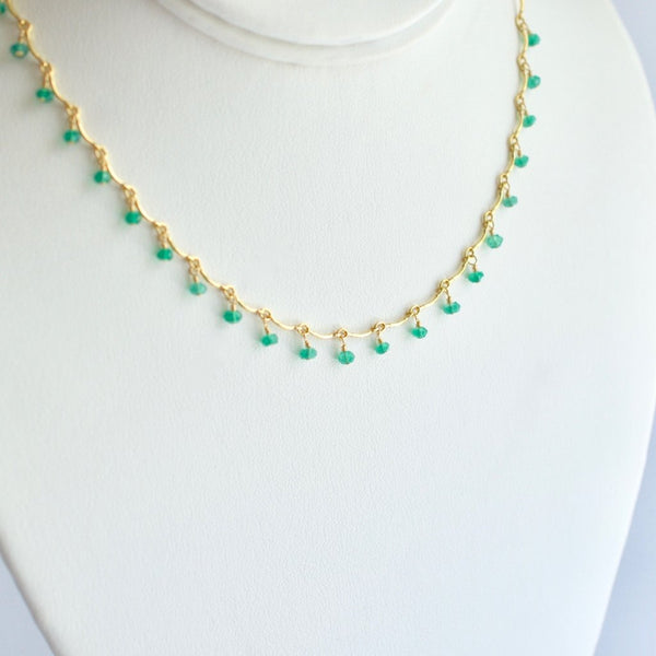 "Leticia - Green Onyx, 14k Gold Filled ""Choker"" Necklace"
