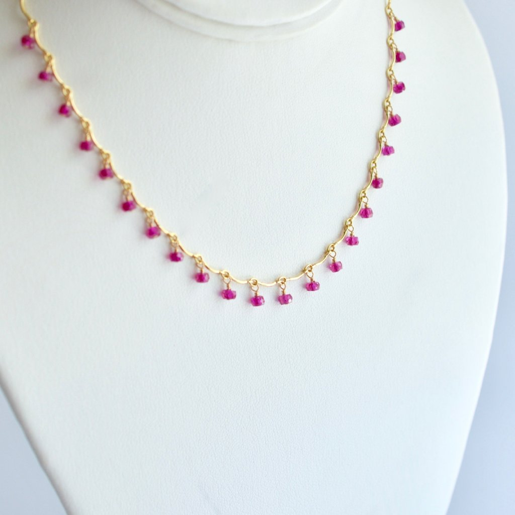 Leticia - Pink Sapphire, 14k Gold Filled Necklace