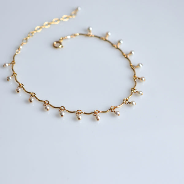 Leticia - White Freshwater Pearl, 14k Gold Filled Bracelet